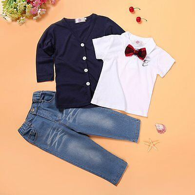 3pcs Toddler Kids Baby Boy gentleman Jacket+Tops+Jeans Pants Clothes Outfits Set