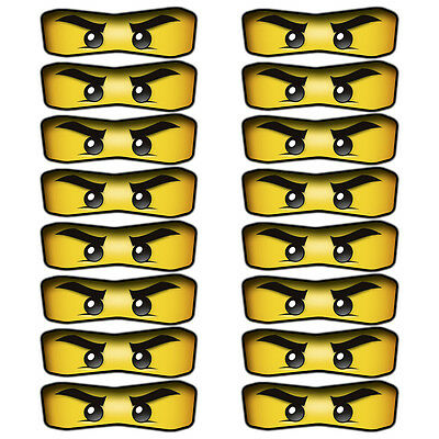 16 x Lego Ninjago Eyes Stickers for Balloons, Bags, Plates, Party Decorations