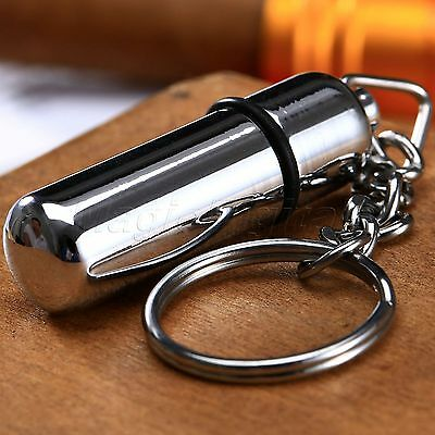 Silver Pocket Stainless Steel Bullet Style Cigar Punch Cutter withKey Chain Ring