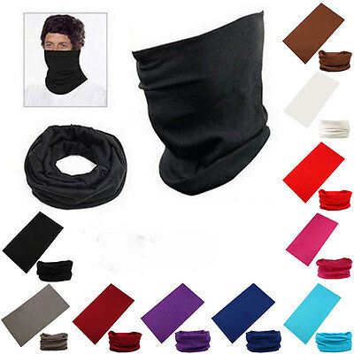 New Solid Cotton Tube Scarf Bandana Head Face Mask Neck Gaiter Snood Headwear