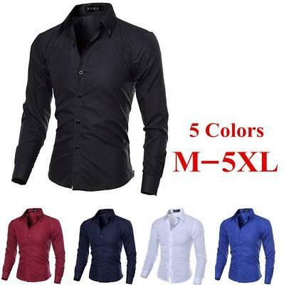 Mens Slim Fit Long Sleeve Casual Dress Shirt Formal Business T-Shirts Tee Tops