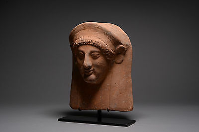 Ancient Greek Archaic Terracotta Female Protome - 550 BC