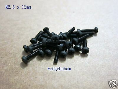 25 Pcs Black Nylon Philips Head Screw - M2.5 x 12mm