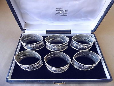 Beautiful Vintage Indian 6 Sterling Silver Napkin Rings, Not Engraved