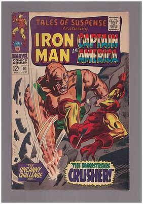 Tales of Suspense # 91  Challenge of the Crusher !  grade 6.0 scarce book !