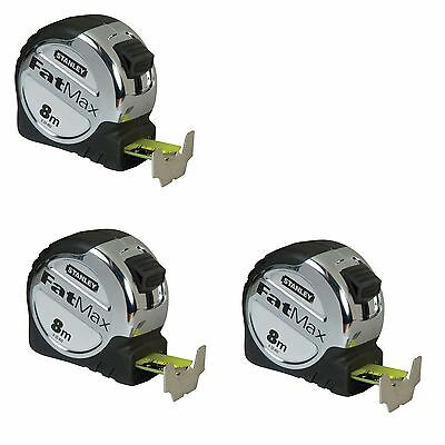 """""""2 MINE-1 YOURS"""" STANLEY FATMAX TAPE MEASURE DEAL 8M METRIC (3 tapes) 0-33-892"""