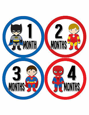 Superhero Baby Boy Monthly Milestone Stickers Boys Month Sticker #808