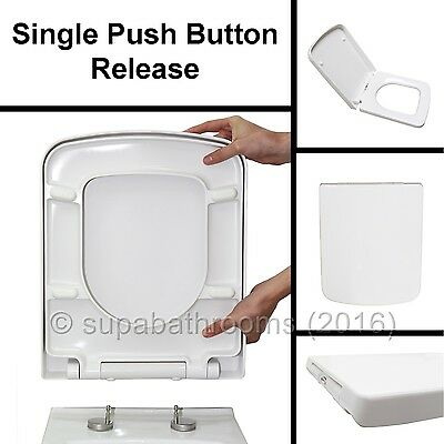 Square Design WC Toilet Seat Soft Close Top Fix Quick Release Hinge Easy Clean