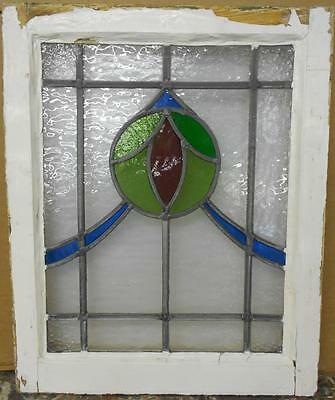 "OLD ENGLISH LEADED STAINED GLASS WINDOW Pretty Circular Sweep 18"" x 22"""