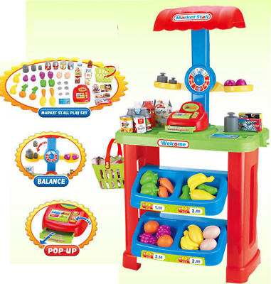 Childrens Kids Market Shop Counter & Pretend Role Play Toy Shopping Food Set 580