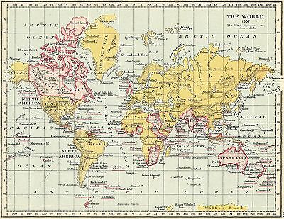 1907 Map of The British Empire  M1907 wall Art Poster PRINT A1,A2,A3,A4
