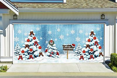 Christmas tree garage door covers 3d banners outside art decoration