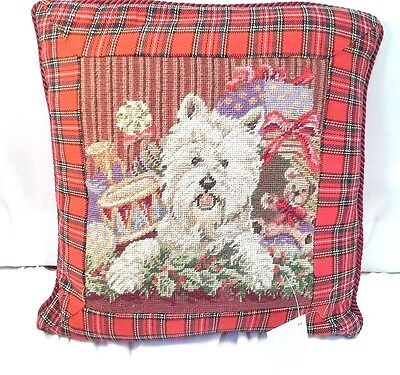 """West Highland White Terrier Needlepoint Christmas Plaid  Red  Dog Pillow  10"""""""
