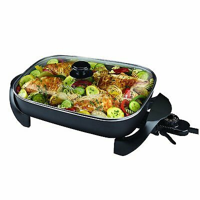 TOP Electric Skillet Family Sized Buffet Style Glass Lid Nonstick Fryer #3782