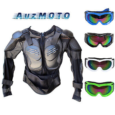 Kids Body Armour + Junior Tinted Goggles Motorcycle Pit Dirt Bike Racing Ride