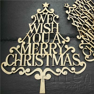 Wooden Merry Christmas Tree Shapes Family Decorations Decopage Craft MDF Wood