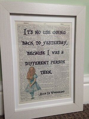 Vintage Alice In Wonderland Quote  Dictionary Page Print Wall Art Picture Framed