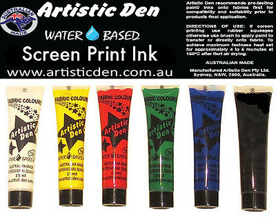 Primary Screen Printing Ink Screen Printing Inks 6 x 15ml  By Artistic Den **