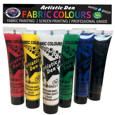Fabric Paint Fabric Printing  Textile Paint Primary 6 x 15ml  By Artistic Den