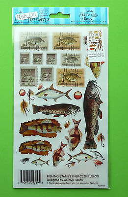 E-Z Rub On Transfers Sentiments For Cardmaking & Scrapbooking - Fishing Stamps 2