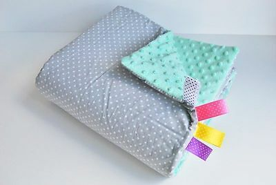 75x50 BABY pram BLANKET Cover MINKY pushchair FILLED warm cosy Cotton DOTS MINT
