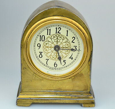 Vintage F.p. Dressler Heavy Brass Cathedral Small Desk Clock With Pretty Face