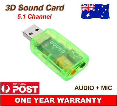 USB 2.0 to 3D Audio Sound Card External Adapter Virtual 5.1 CH Mic Headphone