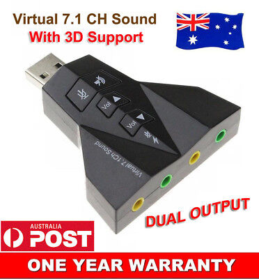 USB 2.0 To Dual 3.5mm Mini External 7.1 Channel Virtual Audio Sound Card Adapter