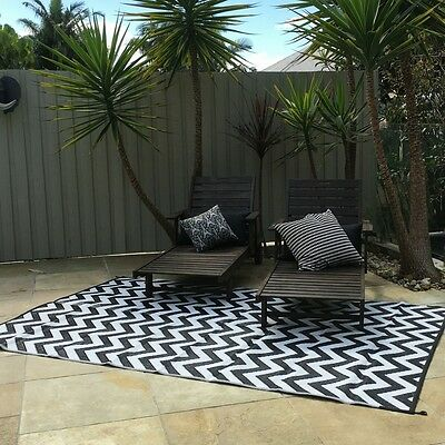SPARTA BLACK 180x270cm Outdoor/Indoor Plastic Rug/Mat BLACK WHITE Waterproof