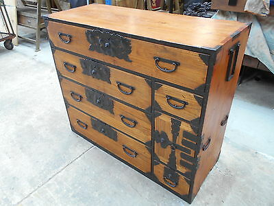 Antique Japanese Kimono Storage Chest Isho Dansu Sugi Kiri Wood Circa 1890s #83
