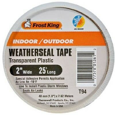 Frost King T94H Clear Plastic Weather-Seal Tape 2-Inch by 25-Feet, Clear NEW