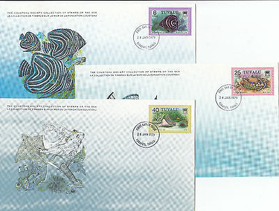 Stamps Tuvalu fish set of 3 on Cousteu Society Collection cards first day