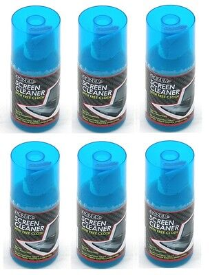 6 X New Lazer Screen Cleaner Spray Free Cloth Removes Dust Fingerprints Pc Tab