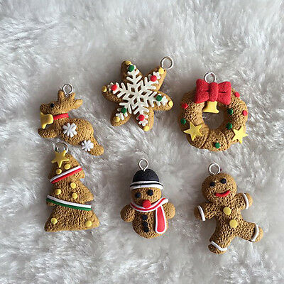 6Pcs Christmas Tree Decorations DIY Clay Pendants Decor Hanging Ornament Gift
