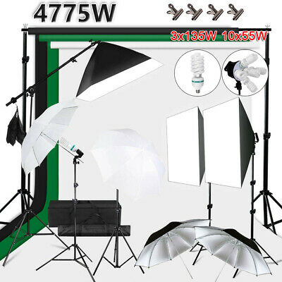 Photography Studio Softbox Boom Arm Light Umbrella Lighting Stand Kit 3 Backdrop