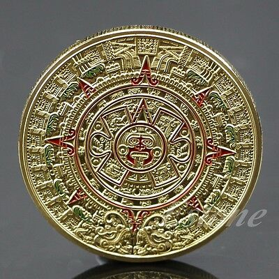 Mayan Prophecy Aztec Gold Calendar Gold Plated Commemorative Coin Art Collection