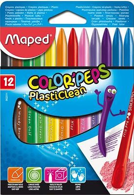 Maped Color'peps Plasticlean Plastic Crayons Wallet Of 12 Assorted Colours