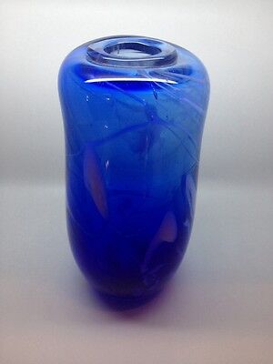 VINTAGE TOM FUHRMAN ART GLASS BLUE VASE signed