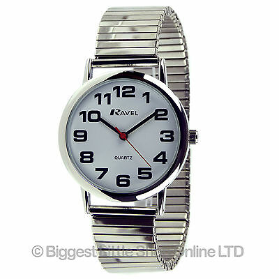 Ravel Mens Gents Expandable Strap Stretch Watch Chrome BOLD Numbers Round Face