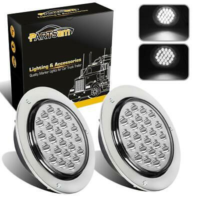 """2pc 4"""" Round White 24 LED Truck Trailer light Stop Turn Tail Reverse+Chrome&Wire"""