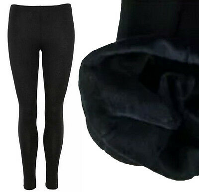 New Womens Plus Size Black Fleece Lined Long Thermal Stretchy Winter Leggings