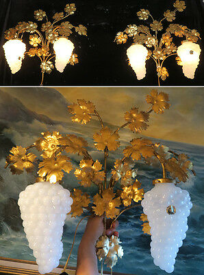 PR 2lt Vintage Murano Opaline Grape Glass tole Sconce lamp Florentine Italy gilt