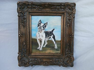 Ooak Original Painting Boston Terrier Small Breed Dog Handsome Canine Portrait