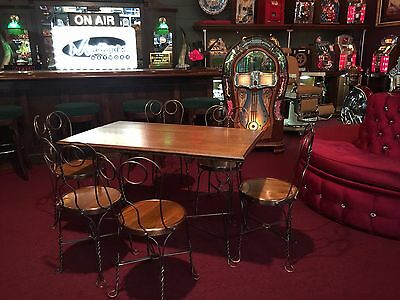"Early 1900s Wood Ice Cream Parlor Diner Table & 6 Chair Set "" Watch Video"""