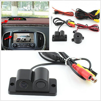2in1 Radar Sensor Wide Angle Car Visual Reverse Backup Parking Camera For Toyota