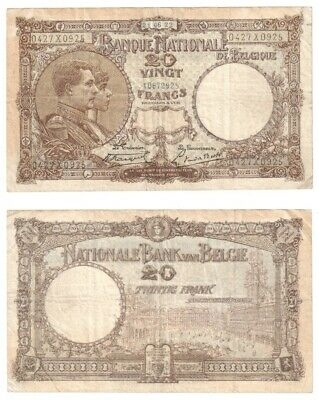 BELGIUM - 20 Francs Banknote from 1922 - Pick ref: 94.