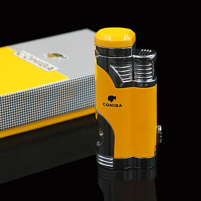 COHIBA  Metal 2 TORCH JET FLAME CIGAR CIGARETTE LIGHTER With PUNCH Yellow