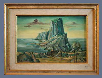 Original Antique Oil Painting On Panel Board By Frederic Taubes (1900-1981)