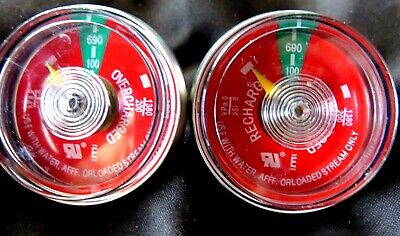 Lot of 2-100# psi Pressure Gauge For Portable Water Pressure Fire Extinguisher