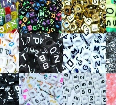 100 pcs acrylic number OR letter beads, cube, 6, 7, and 8 mm with colour options